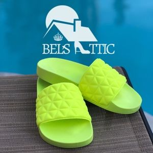 Shoes - Neon Lime Slip On Slide Sandals